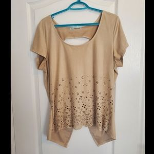 Maurices Tan Suede Lazer Cut Top Open Back